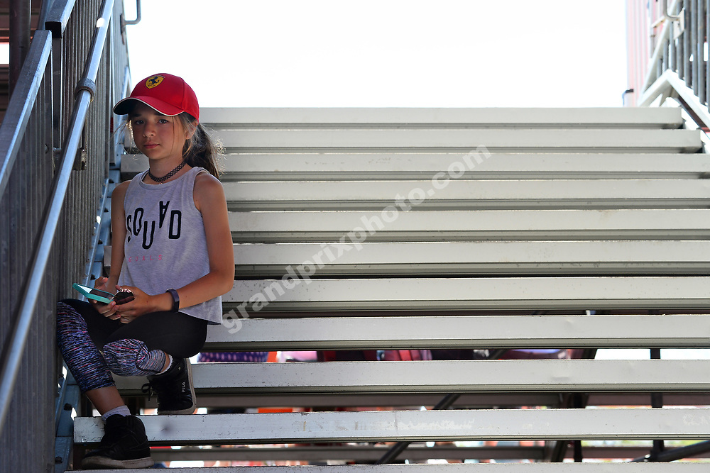 Young Ferrari fan / tifosi during practice for the 2019 Canadian Grand Prix in Montreal. Photo: Grand Prix Photo