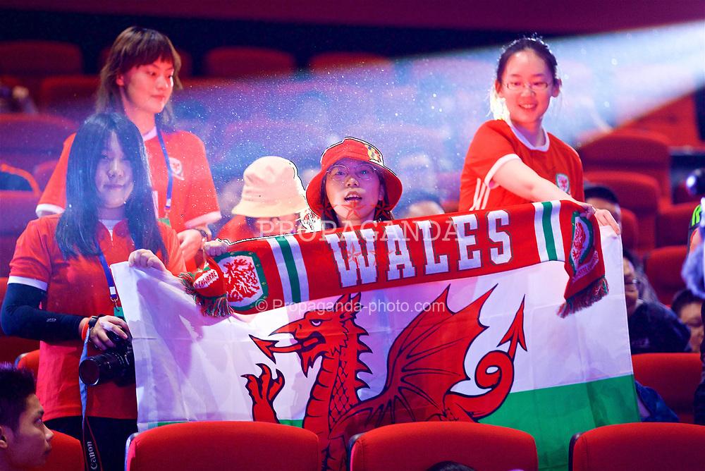 NANNING, CHINA - Saturday, March 24, 2018: Chinese Wales supporters during a meet & greet event at the Nanning Wanda Mall during the 2018 Gree China Cup International Football Championship. (Pic by David Rawcliffe/Propaganda)