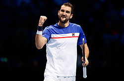 Marin Cilic celebrates during his match against Jack Sock during day three of the NITTO ATP World Tour Finals at the O2 Arena, London.