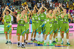Aleksej Nikolic of Slovenia, Goran Dragic of Slovenia, Domen Lorbek of Slovenia, Jure Balazic of Slovenia, Miha Zupan of Slovenia, Jaka Klobucar of Slovenia, Jaka Blazic of Slovenia, Uros Slokar of Slovenia and Edo Muric of Slovenia celebrate after the basketball match between National Teams of Slovenia and Dominican Republic in Eight-finals of FIBA Basketball World Cup Spain 2014, on September 6, 2014 in Palau Sant Jordi, Barcelona, Spain. Photo by Tom Luksys  / Sportida.com <br /> ONLY FOR Slovenia, France
