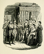Guy Fawkes interrogated by King James the First From the book ' Guy Fawkes; or, The gunpowder treason. An historical romance ' by William Harrison Ainsworth, with illustrations on steel by  George Cruikshank. Published in London, by George Routledge and sons, limited in 1841. Guy Fawkes (13 April 1570 – 31 January 1606), also known as Guido Fawkes while fighting for the Spanish, was a member of a group of provincial English Catholics who was involved in the failed Gunpowder Plot of 1605. He was born and educated in York; his father died when Fawkes was eight years old, after which his mother married a recusant Catholic.