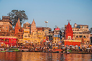 Varanasi, India as seen from the Ganges river