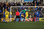 AFC Wimbledon goalkeeper Joe Day (21) making a save with his chest during the EFL Sky Bet League 1 match between AFC Wimbledon and Fleetwood Town at the Cherry Red Records Stadium, Kingston, England on 8 February 2020.