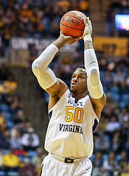 Nov 24, 2018; Morgantown, WV, USA; West Virginia Mountaineers forward Sagaba Konate (50) shoots during the second half against the Valparaiso Crusaders at WVU Coliseum. Mandatory Credit: Ben Queen-USA TODAY Sports