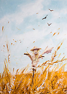 an original painting representing a a scarecrow in a field where barley grows