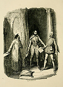 Guy Fawkes preventing Sir William Radcliffe from joining the Conspiracy From the book ' Guy Fawkes; or, The gunpowder treason. An historical romance ' by William Harrison Ainsworth, with illustrations on steel by  George Cruikshank. Published in London, by George Routledge and sons, limited in 1841. Guy Fawkes (13 April 1570 – 31 January 1606), also known as Guido Fawkes while fighting for the Spanish, was a member of a group of provincial English Catholics who was involved in the failed Gunpowder Plot of 1605. He was born and educated in York; his father died when Fawkes was eight years old, after which his mother married a recusant Catholic.