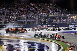 September 17, 2017 - Singapore, Singapore - Motorsports: FIA Formula One World Championship 2017, Grand Prix of Singapore, ..Start, #5 Sebastian Vettel (GER, Scuderia Ferrari), #44 Lewis Hamilton (GBR, Mercedes AMG Petronas F1 Team), #14 Fernando Alonso (ESP, McLaren Honda), #33 Max Verstappen (NLD, Red Bull Racing), #7 Kimi Raikkonen (FIN, Scuderia Ferrari), #3 Daniel Ricciardo (AUS, Red Bull Racing) (Credit Image: © Hoch Zwei via ZUMA Wire)