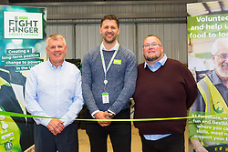 Kent Operations Manager Paul Underdown, left, Asda Spokesperson Tim Scott and  Medway Street Angels founder Neil Charlick at the opening of FareShare's relocated warehouse in Ashford, Kent. Ashford, Kent, May 23 2019.