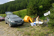 France - Saturday, Jul 19 2008: Tour de France 2008. A temporary campsite in the direction of Col Agnel for followers of the Tour de France cycle race. (Photo by Peter Horrell / http://www.peterhorrell.com)