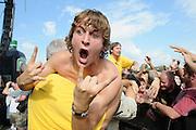 A fan attending Mayhem Fest 2012 at Verizon Wireless Amphitheater in St. Louis, Missouri on July 20, 2012.