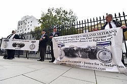 October 5, 2018 - London, United Kingdom - Veterans gather outside the Ministry of Defence to demand Justice for the Northern Irish Veterans, London on October 5, 2018. (Credit Image: © Alberto Pezzali/NurPhoto/ZUMA Press)