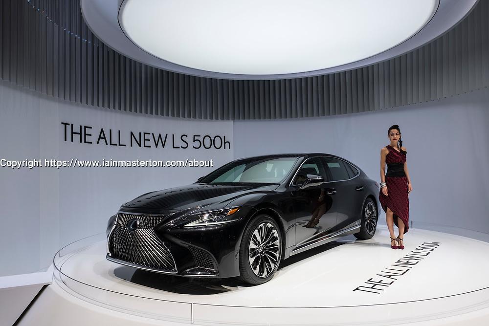 New Lexus LS 500h hybrid electric saloon car at 87th Geneva International Motor Show in Geneva Switzerland 2017