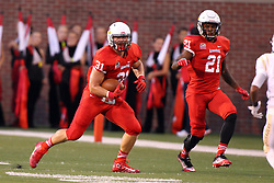 03 September 2016:  Jeremy Graves provides blocking for Bryce Holm during a kick return. NCAA FCS Football game between Valparaiso Crusaders and Illinois State Redbirds at Hancock Stadium in Normal IL (Photo by Alan Look)