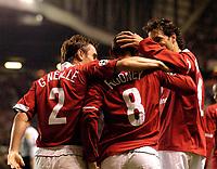 Photo. Jed Wee.Digitalsport<br /> Manchester United v Fenerbahce SK, UEFA Champions League, 28/09/2004.<br /> Manchester United debutant Wayne Rooney (C) makes his presence felt.