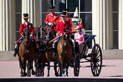 Trooping the Colour is a ceremony performed by regiments of the British and Commonwealth armies and as also marked the official birthday of the British sovereign, Queen Elizabeth.It is held in London annually on a Saturday in June on Horse Guards Parade by St. James's Park<br /> <br /> On the photo:  Catherine Kate Duchess of Cambridge