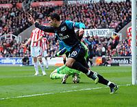 Robin Van Persie Celebrates Scoring Equalising goal <br />Arsenal 2011/12<br />Stoke City V Arsenal (1-1) 28/04/12<br />The Premier League<br />Photo: Robin Parker Fotosports International