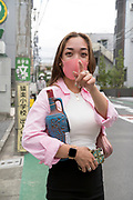 girl with wine carafe bottle Tokyo Japan