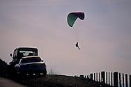 Paraglider comes in for a landing, Mt. Diablo State Park, Contra Costa County, CALIFORNIA