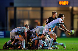 NNorthampton Scrum-Half (#9) Lee Dickson passes during the second half of the match - Photo mandatory by-line: Rogan Thomson/JMP - Tel: Mobile: 07966 386802 18/11/2012 - SPORT - RUGBY - Rodney Parade - Newport. Newport Gwent Dragons v Northampton Saints - LV= Cup Round 2