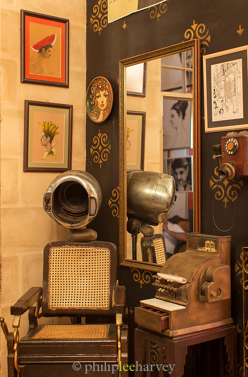 Old fashioned hair saloon with old equipment, Havana, Cuba