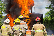 63818-02517 Firefighters at oilfield tank training, Marion Co., IL