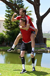 VALE DO LOBO, PORTUGAL - Wednesday, May 25, 2016: Wales' goalkeeper Wayne Hennessey and Adam Matthews during day two of the pre-UEFA Euro 2016 training camp at the Vale Do Lobo resort in Portugal. (Pic by David Rawcliffe/Propaganda)