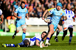 Jack Nowell of Exeter Chiefs is marked by Geoffrey Palis of Castres Olympique - Mandatory by-line: Ryan Hiscott/JMP - 13/01/2019 - RUGBY - Sandy Park Stadium - Exeter, England - Exeter Chiefs v Castres - Heineken Champions Cup