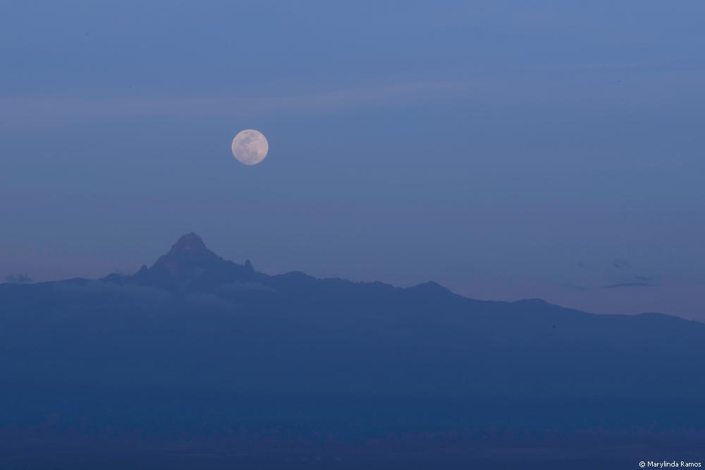 Moon rising over Mount Kenya.