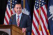Chairman of the SC Republican Party Matt Manning introduces Wisconsin Governor Scott Walker during a GOP lunch event March 20, 2015 in Charleston, South Carolina.