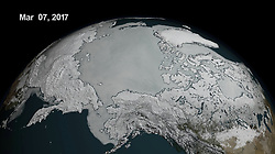 March 7, 2017 - Antarctica - Arctic Sea Ice Extent. The shape of the world is hanging by a thread Ð or rather, according to experts, by a 110 mile-long (177km) rift. That's the extent of a rapidly expanding crack in an enormous ice shelf in Antarctica. When the Larsen C shelf finally splits, the largest iceberg ever recorded (bigger than the US state of Rhode Island and a third the size of Wales) will snap off into the ocean. Widening each day by 3 ft (1 m), the groaning cleft is on the verge of dramatically redrawing the southern-most cartography of our planet and is likely to lead, climatologists predict, to an acceleration in the rise of sea levels globally.The shape of the world is hanging by a thread or rather, according to experts, by a 110 mile-long (177km) rift. That's the extent of a rapidly expanding crack in an enormous ice shelf in Antarctica. When the Larsen C shelf finally splits, the largest iceberg ever recorded (bigger than the US state of Rhode Island and a third the size of Wales) will snap off into the ocean. Widening each day by 3 ft (1 m), the groaning cleft is on the verge of dramatically redrawing the southern-most cartography of our planet and is likely to lead, climatologists predict, to an acceleration in the rise of sea levels globally. (Credit Image: © NASA via ZUMA Wire/ZUMAPRESS.com)