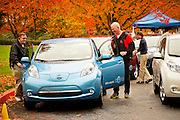 Portland, Oregon drivers test drive the first Nissan LEAF electric vehicles in North America.