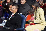 Obama family at the swearing in ceremony during the Inauguration on January 20, 2009.  Photograph:  Dennis Brack