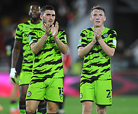 Football - 2021 / 2022 EFL Carabao Cup - Round Two - Brentford vs Forest Green Rovers - Brentford Community Stadium - Tuesday 24th August 2021<br /> <br /> Jordan Moore - Taylor and Regan Hendry of Forest Green  Rovers applaud their fans after the match <br /> <br /> Credit : COLORTSPORT/Andrew Cowie