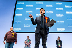 © Licensed to London News Pictures . 08/05/2021. Manchester, UK. Andy Burnham delivers his victory speech after being declared the winner as the results are declared at the count in the election for the Metro Mayor of Greater Manchester at the Manchester Central Convention Centre (formerly NHS Nightingale NW ). Photo credit: Joel Goodman/LNP