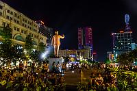 Statue of Ho Chi Minh on Nguyen Hue Street (pedestrian street), Ho Chi Minh City (Saigon), Vietnam.