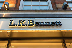 © Licensed to London News Pictures. 07/03/2019. LONDON, UK.  External signage of the LK Bennett store in Covent Garden.  LK Bennett, a chain of high-end women's clothing stores, has announced that it has called in EY as administrators after being unable to secure financing.  The brand is reported to be a favourite of the Duchess of Cambridge.  Photo credit: Stephen Chung/LNP