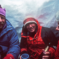 Staff at Adventure Network's Patriot Hills expediton base gather for an informal party in a snow cave they dug.