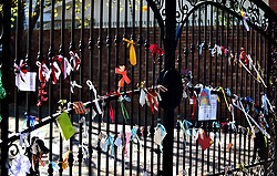 South Africa - Pretoria - 02 June 2020 - Ribbons in the gate as symbolism of love and appreciation from pupils at Waterkloof House Preparatory School for their school and teachers<br /> <br /> Picture: Thobile Mathonsi/African News Agency(ANA)