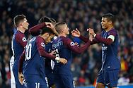 MARCO VERRATTI (PSG) scored a goal and celebrated it with Thiago Silva (PSG), Neymar da Silva Santos Junior - Neymar Jr (PSG), Kylian Mbappe (PSG), Edinson Roberto Paulo Cavani Gomez (psg) (El Matador) (El Botija) (Florestan), Julian Draxler (PSG), Marcos Aoas Correa dit Marquinhos (PSG) during the UEFA Champions League, Group B, football match between Paris Saint-Germain and RSC Anderlecht on October 31, 2017 at Parc des Princes stadium in Paris, France - Photo Stephane Allaman / ProSportsImages / DPPI