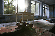 Chernobyl, Exclusion Zone, Ukraine. Gas mask, Maternity Hospital. Pripyat Town built 15 years before the Chernobyl reactor fire. The whole town was evacuated shortly after. The  Chernobyl Reactor, towns, plant and environs just before the 20th anniversary of the nuclear disaster.