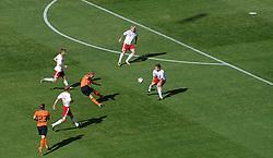 14.06.2010, Soccer City Stadium, Johannesburg, RSA, FIFA WM 2010, Niederlande vs Dänemark im Bild .Dirk Kuyt of Netherlands shoots on goal surrounded by the Danish defence, EXPA Pictures © 2010, PhotoCredit: EXPA/ IPS/ Mark Atkins / SPORTIDA PHOTO AGENCY