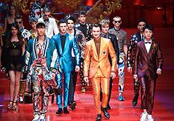 MILAN, June 18, 2017  Models walk the runway for fashion house Dolce&Gabbana during Milan Men's Fashion Week Spring/Summer 2018 in Milan, Italy, on June 17, 2017.  zcc) (Credit Image: © Jin Yu/Xinhua via ZUMA Wire)