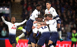 Tottenham Hotspur's Juan Foyth (centre, hidden) celebrates scoring his side's first goal of the game with team-mates during the Premier League match at Selhurst Park, London.