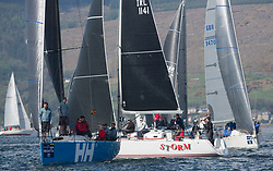 Lights winds dominated the Pelle P Kip Regatta  at Kip Marine weekend of 12/13th May 2018<br /> <br /> RC 35 Class with GBR 732R, Wildebeeste, Craig Latimer, Ker 32; IRL1141,Storm, Pat Kelly, Howth YC / Rush SC, J109; <br /> <br /> Images: Marc Turner
