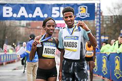 Monicah Ngige and Hagos Gebrhiwet winners of BAA 5K