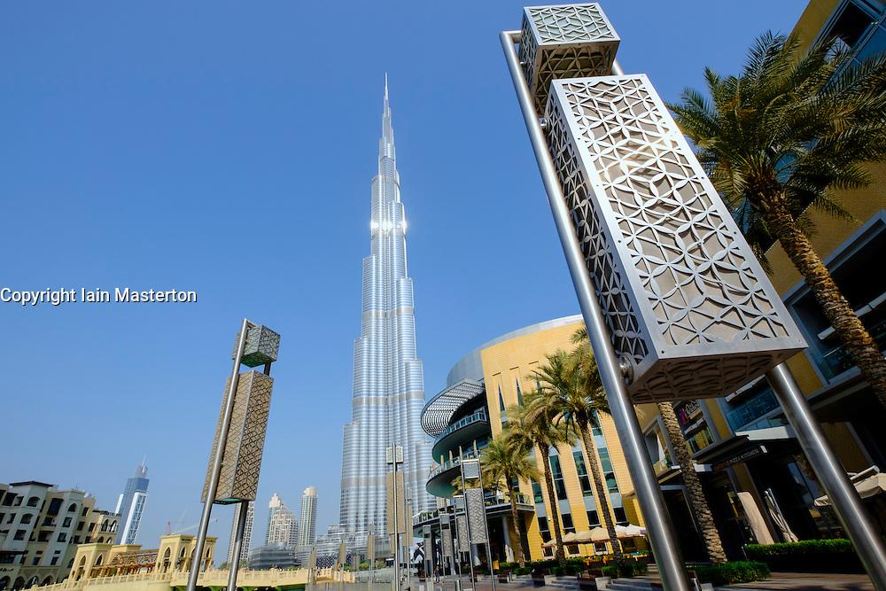 Burj Khalifa tower beside Dubai Mall in Downtown Dubai United Arab Emirates