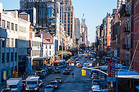 US, New York City. W 14th Street. View from the High Line park.