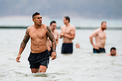 Tusi Pisi looks on as Bristol Rugby take part in a morning after game recovery session in the sea - Rogan/JMP - 29/10/2017 - RUGBY UNION - Jersey Marine Lake - St Helier, Jersey - Jersey Reds v Bristol Rugby - Greene King IPA Championship.