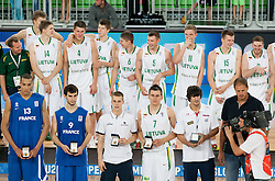 Top five players Rudy Gobert of France, Leo Westermann of France, Klemen Prepelic of Slovenia, Edgaras Ulanovas of Lithuania, Daniel Diez of Spain with Radoslav Nesterovic during medal ceremony after the basketball match between National teams of Lithuania and France in final match of U20 Men European Championship Slovenia 2012, on July 22, 2012 in SRC Stozice, Ljubljana, Slovenia. Lithuania defeated France 50-49 and became European Champion 2012. (Photo by Vid Ponikvar / Sportida.com)