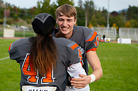 KELOWNA, BC - OCTOBER 6: Liam Johnstone #40 and Nate Adams #41 of Okanagan Sun stand on the field after the win against the VI Raiders at the Apple Bowl on October 6, 2019 in Kelowna, Canada. (Photo by Marissa Baecker/Shoot the Breeze)